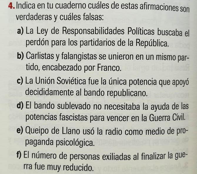 Actividad del libro de texto de Historia de España de 2º de Bachillerato de la editorial Algaida que fomenta la enseñanza positivista de la Guerra Civil