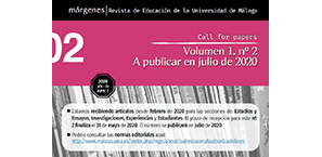 Call for papers volumen 1 numero 2 julio 2020 Márgenes revista de educación de la universidad de Málaga